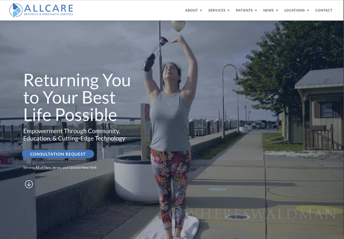 DePinho Website Design for Allcare Orthotic and Prosthetic Services